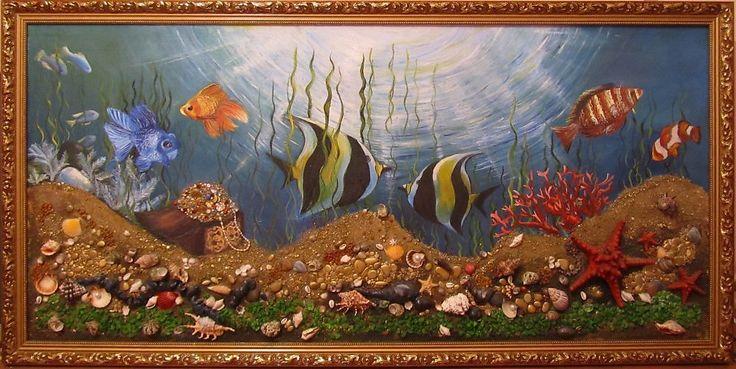 Картины из морских камней и ракушек  Подводное царство — Изобразительное искусство — Рисование нестандартными материалами. (Песок, мука, зерно и др.