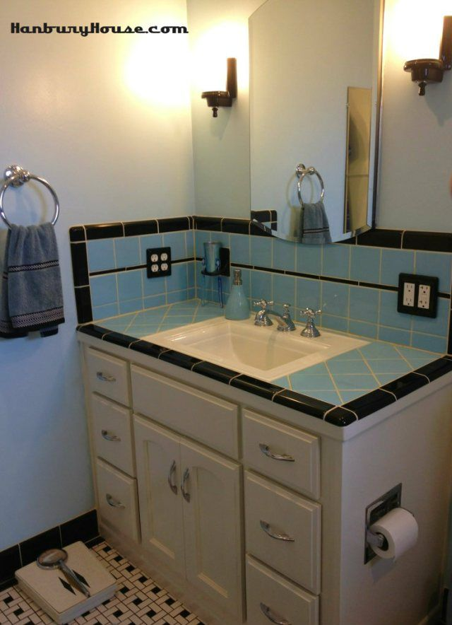 Retro blue tile bathroom designed to looked like it was original to our 1944 house track bee - Vintage blue tile bathroom ideas ...