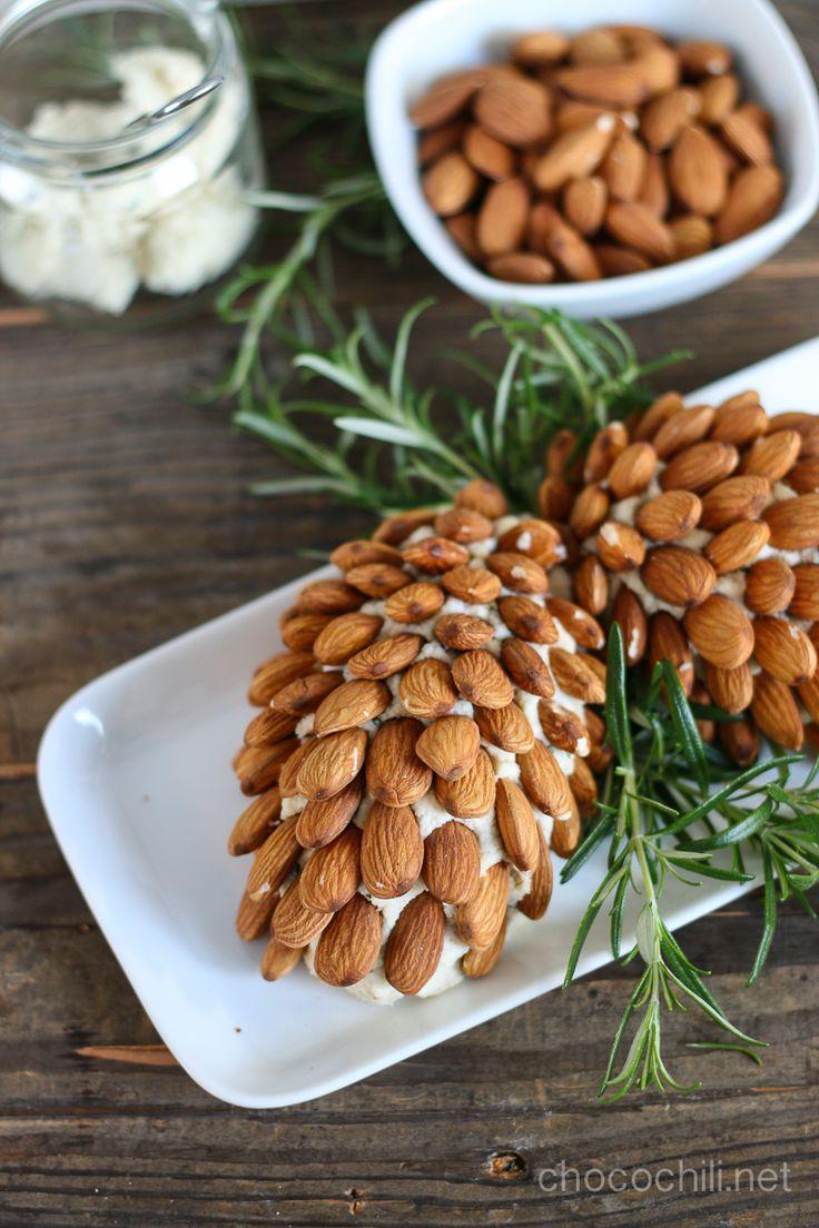 Vegan Almond Cream Cheese Pine Cones // chocochili.net