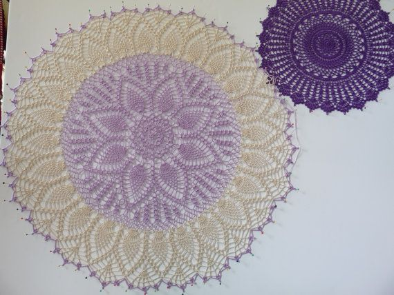 Beautiful lavender and antique white!  https://www.etsy.com/listing/201749235/crochet-doily-lavender-antique-white