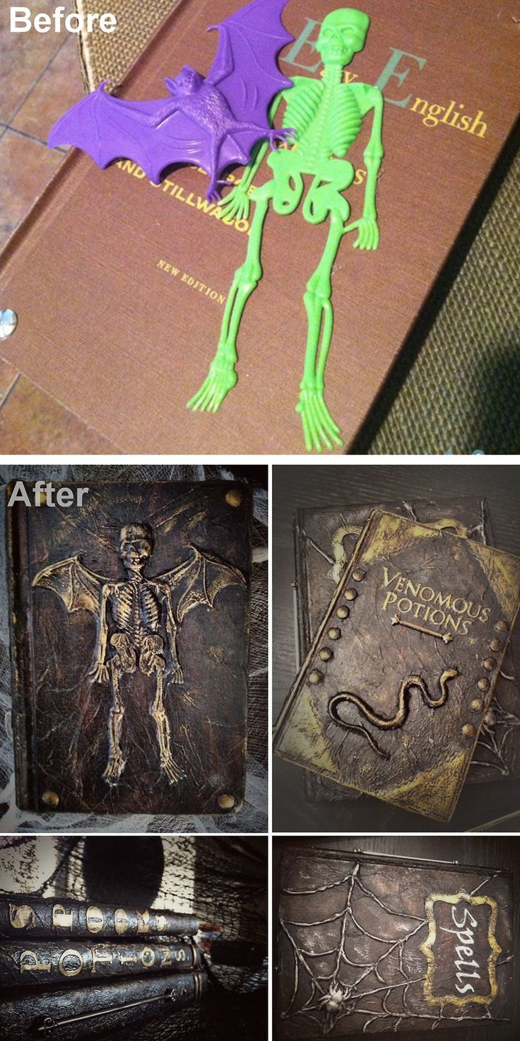 DIY Spell and Potion Book Tutorial from Better After. This is a really good tutorial using plastic toys, a glue gun, cardstock, paper towels etc…