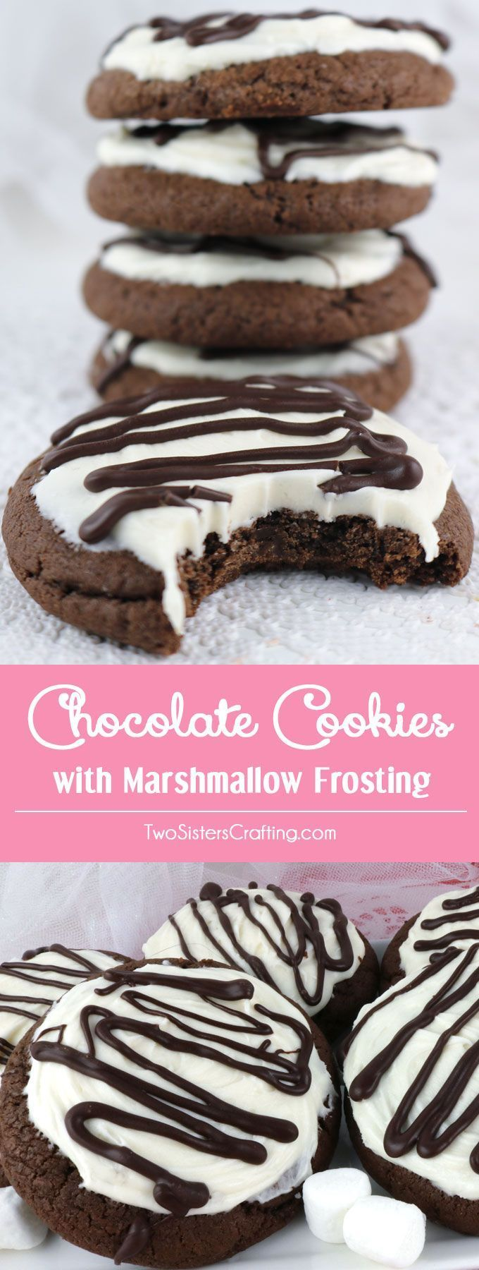Chocolate Cookies with Marshmallow Frosting - sweet, chocolatey and covered with our deliciously sweet Marshmallow Buttercream Frosting. These yummy frosted cookies are easy to make and taste just like a chocolate marshmallow candy. Pin this yummy Cookie Recipe for later and and follow us for more great Cookie Ideas.