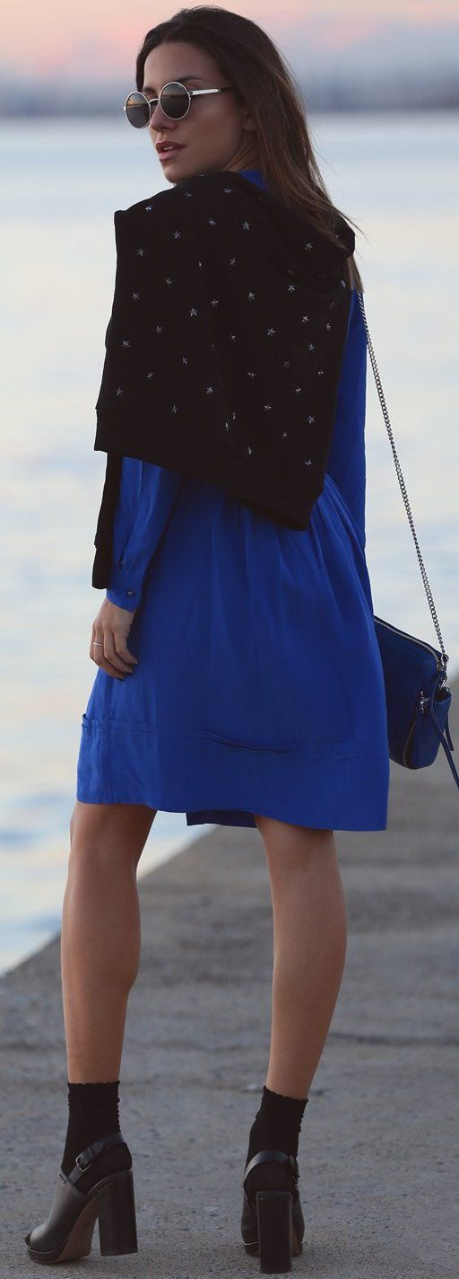 #fall #trending #outfits | Black + Blue