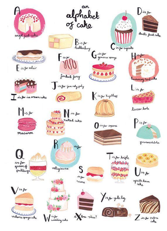 Alphabet of cake A3 art print by Emma Block