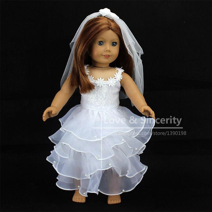 Blanco elegante Vestido de Novia Para La Muñeca American Girl 18 pulgadas Ddoll Ropa