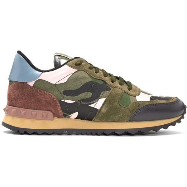 Valentino Green & Pink Valentino Garavani Camo Rockrunner Sneakers ($715) ❤ liked on Polyvore featuring shoes, sneakers, green, pink camo shoes, camouflage sneakers, rubber sole shoes, rose sneakers and valentino trainers