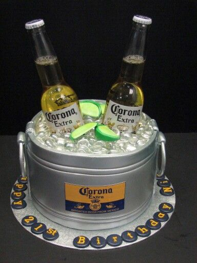 Custom Fondant beer bucket cake with Corona bottles
