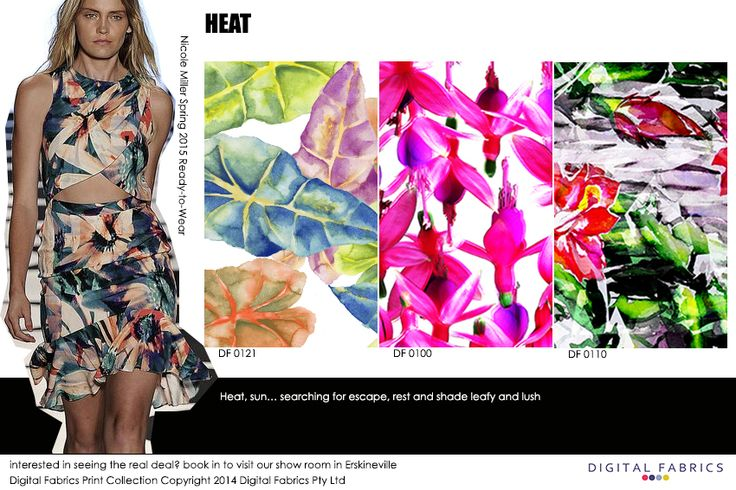 Our fashion prints with some inspiration from the runway #design #nature #inspiration #fashion #fabric #print #colour #summer #floral #flora #pink #green #tropical #watercolour #photographic