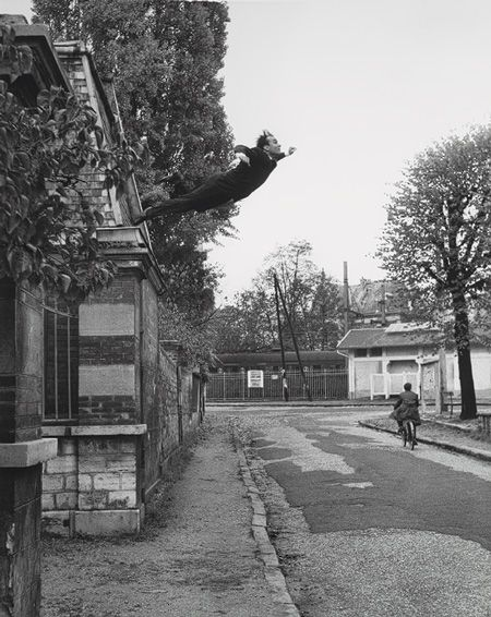 """Leap into the Void, 1960. In October 1960, the American photographer Harry Shunk made a series of pictures re-creating a jump from a second-floor window that the artist claimed to have executed earlier in the year; the figure and the surrounding scene were then collaged together and rephotographed to create its """"documentary"""" appearance. To complete the illusion that the event had actually taken place, Klein distributed a fake broadsheet at Parisian newsstands commemorating it."""