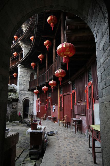 Living quarters in a Hakka building by Raphael Bick on Flickr - Kanshi, Fujian, China