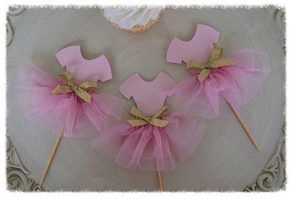 Ballet Tutu Cupcake Toppers conjunto de seis de la fiesta de cumpleaños de la bailarina del partido