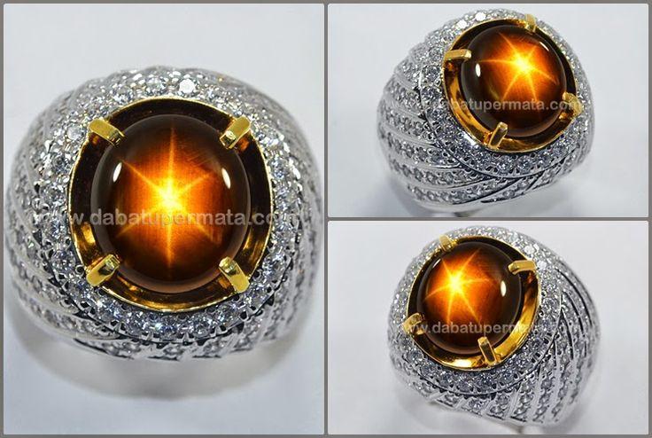 Cincin Batu Permata Sparkling Golden SAPPHIRE Sharp Star Tajam