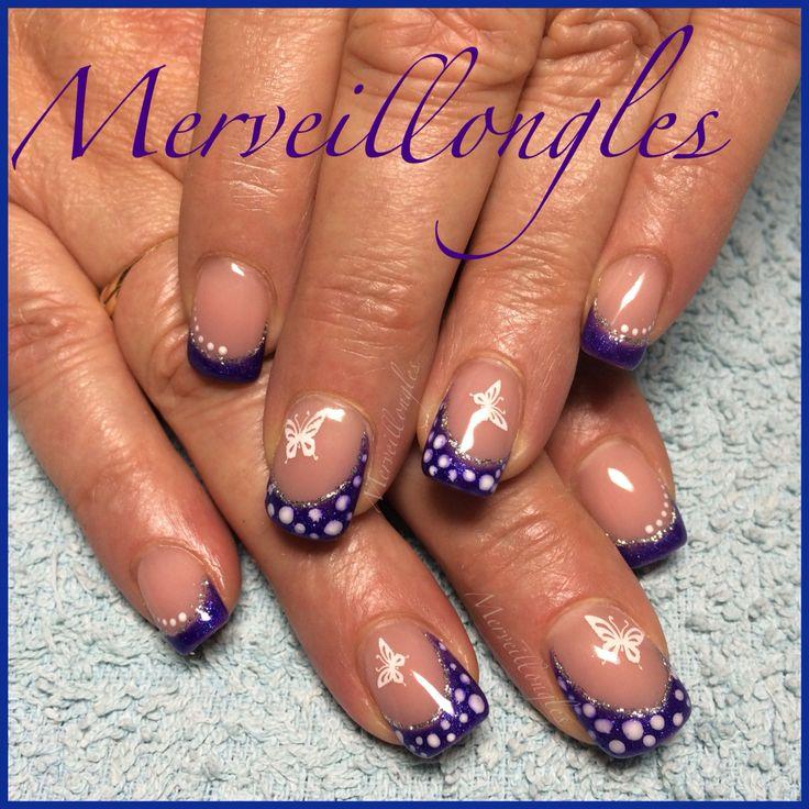 Gel uv french violet déco tampon papillon pois