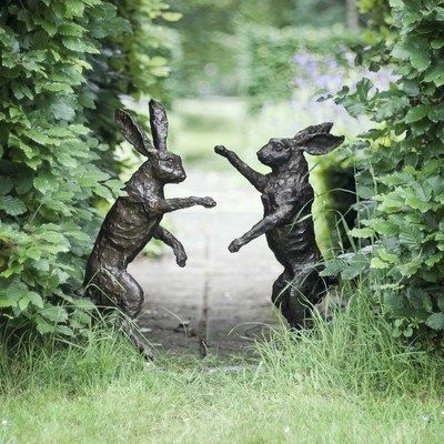 Pair Of Boxing Hares - Bronze Sculpture