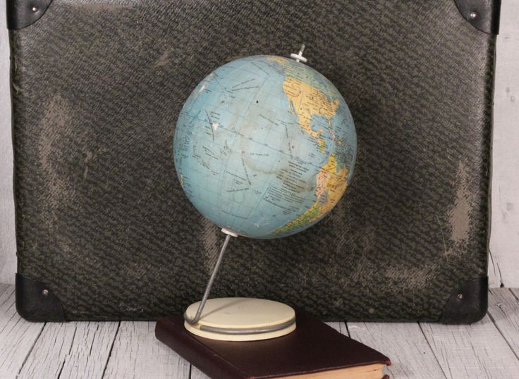 "Vintage globe Small vintage world globe Desk globe, 5.5"" globe Home decor Bar decor globe Vintage office decor Old globe Vintage earth by TheVintageEurope on Etsy https://www.etsy.com/listing/398786421/vintage-globe-small-vintage-world-globe"
