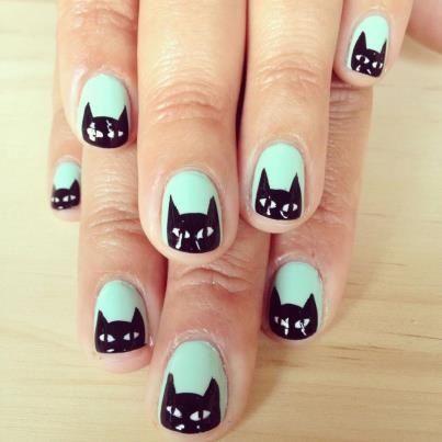 Cute Mint Black Cat Nails
