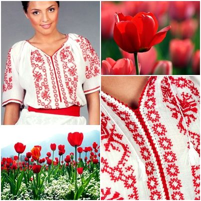 On a hot summer day it is nice to wear something that makes you feel comfortable, and also gives you a touch of elegance. This model of our tradtional Romanian Blouse carries with itself a cheerful colour and the embroidery that represented by stylized leaves and flowers give you a modern air!  #florideie #fashion #trend #style #romaniandesign #red #colorful #flowers #summer #fresh #unique #embroidery