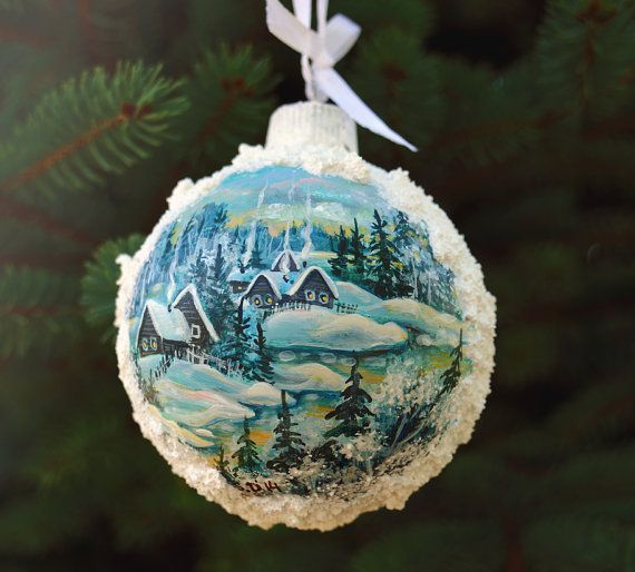 Hand Painted Christmas Ornament by LaivaArt on Etsy, $30.00