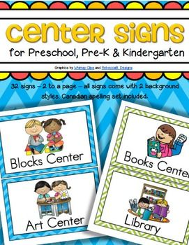 This is a set of center signs for preschool, PreK and Kindergarten. 32 signs – 2 to a page – all signs come with 2 background styles – medium blue chevron, and lime green and white chevron. A Canadian spelling set is included in blue chevron. Updated.  51 pages