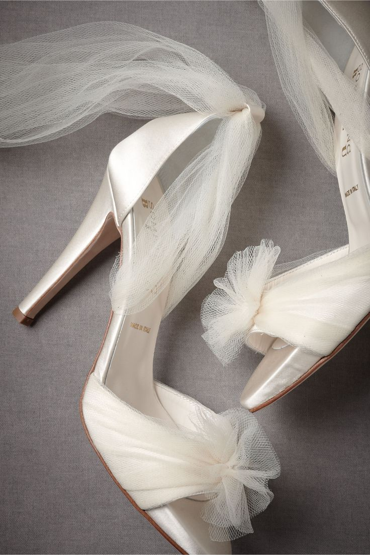 Tulle ankle wrap heels wedding shoes