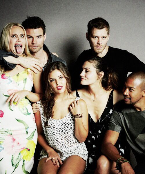 The originals cast | I love how Danielle and Joseph are just being so serious while Daniel is over there fake choking Leah, and the other two just look at them. it's an imperfect but in a way perfect photo