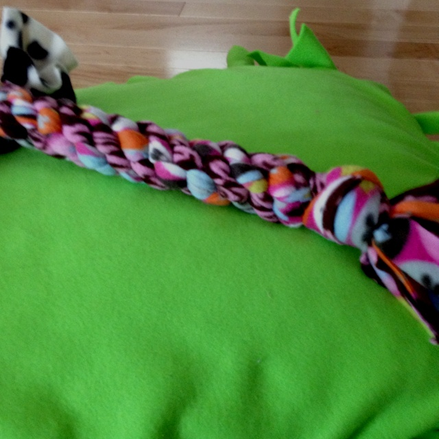 Dog toy and bed I made today from leftover fleece.