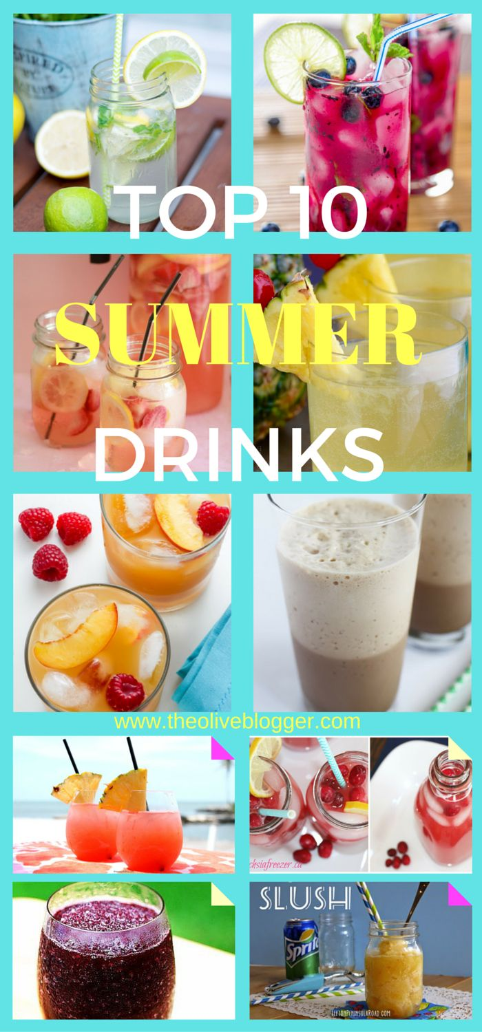 Top 10 Summer Drinks. A collection of refreshing summer drinks for any event! Includes alcoholic and non-alcoholic recipes. Find all the summer drinks here: www.theoliveblogger.com/top-10-summer-drinks/