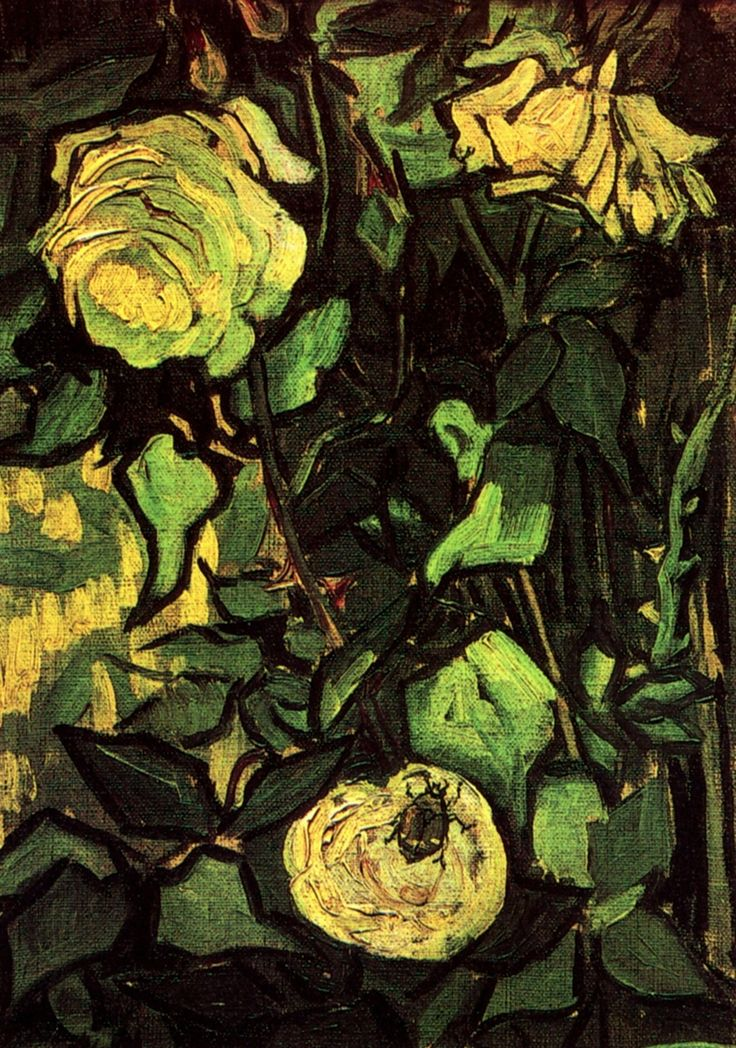 #Roses and Beetle  Artist: #Vincent van Gogh  Completion Date: 1890  Style: #Post-Impressionism  Genre: flower painting  Technique: oil  Material: canvas  Gallery: Van Gogh Museum, Amsterdam, Netherlands  #flowers-and-plants, insects, beetles
