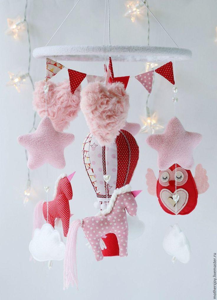 Felt Mobile | Мобиль Розовые нежности для детской кроватки - розовый, мобиль, мобиль на кроватку, мобиль на заказ