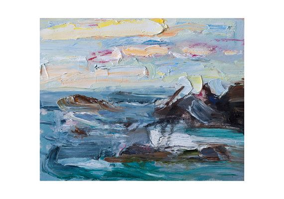 Late Afternoon Light and Rough Sea, Original Plein Air Seascape Painting Oil Paintings Impressionist Waves Coast Sky Seascapes Impasto Thick. By AnnaFineArt studio on Etsy.