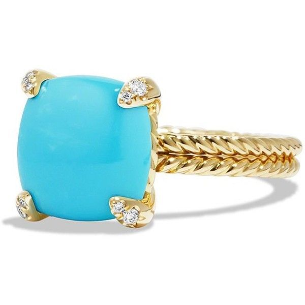 David Yurman Chatelaine Ring with Turquoise and Diamonds in 18K Gold ($1,960) ❤ liked on Polyvore featuring jewelry, rings, apparel & accessories, gold turquoise cabochon, diamond rings, 18k diamond ring, 18k gold ring, cabochon ring and yellow gold diamond rings