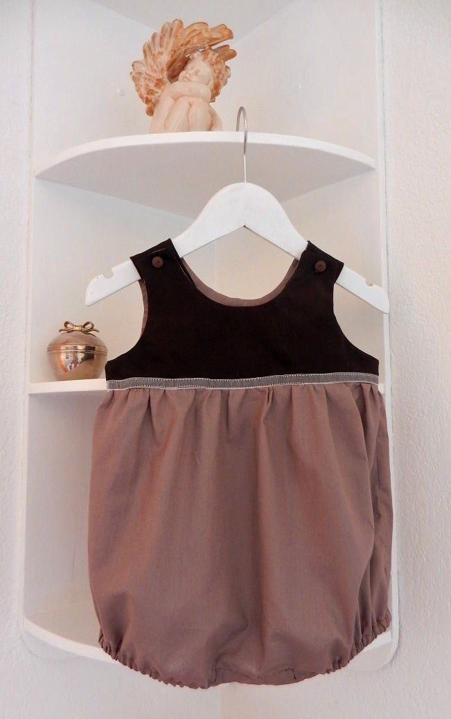 Barboteuse en coton marron foncé et marron glacé - 12 mois Duchesse Or Ange