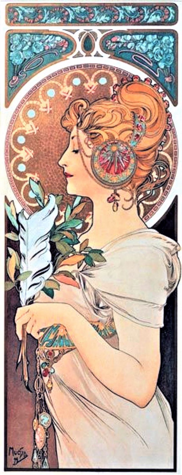 """""""Feather"""" ~ Alphonse Mucha ~ Click through the large version for a full-screen view (on a black background in Firefox), set your computer for full-screen. ~ Miks' Pics """"Alphonse Mucha"""" board @ http://www.pinterest.com/msmgish/alphonse-mucha/"""