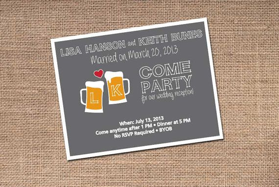Beer Themed Wedding Reception  Fun Party Theme  by BirchTreeDesign, $20.00