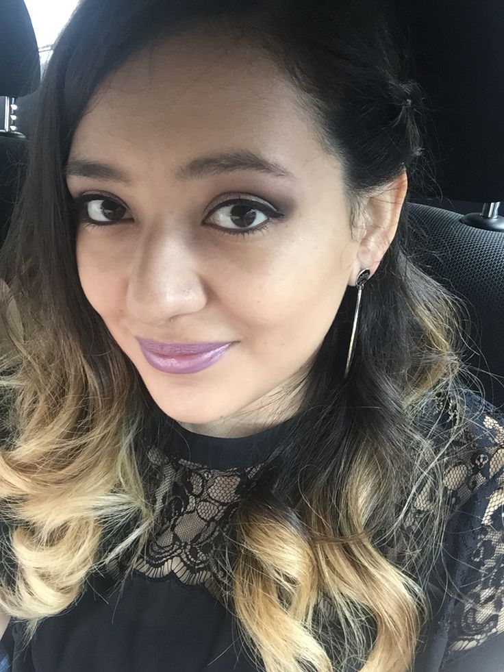 Purple Lipstick & Black to Blonde hair!