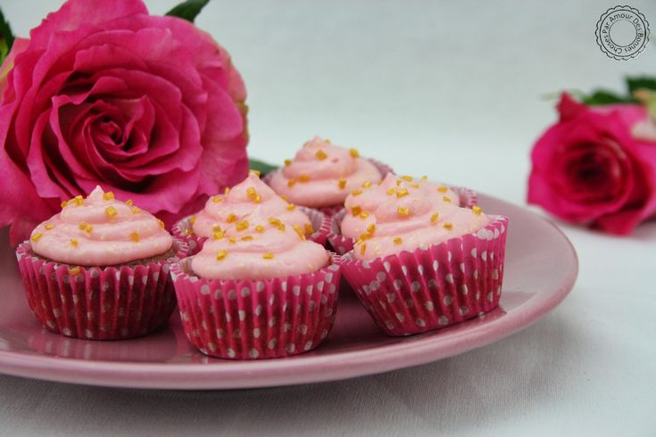 Cupcakes framboise/rose
