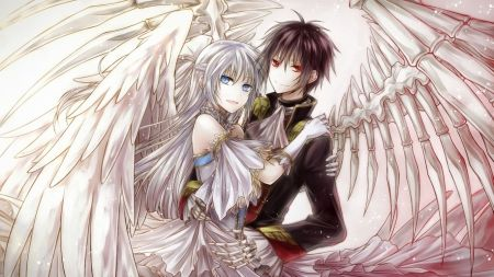 Angel and Devil Girls Kissing | angel and demon - couple, manga, love, anime