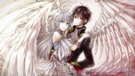Angel and Devil Girls Kissing | angel and demon - couple, manga, love, anime