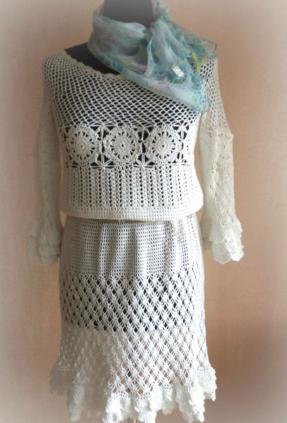 CROCHET FASHION TRENDS? exclusive white crochet dr from Crocheted booties, blanket, exclusive garments are handmade   LyudmilaHandmade by DaWanda.com