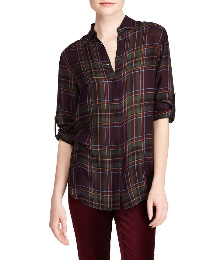 Lauren Ralph Lauren Plaid Roll-Cuff Shirt #Dillards