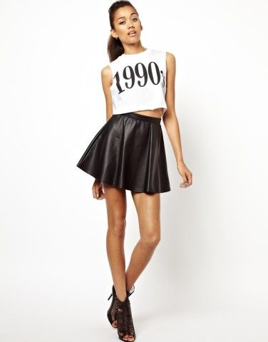 River Island | River Island Coated Skater Skirt at ASOS