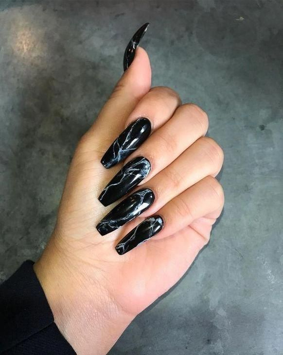 40 Gorgeous Wedding Hairstyles For Long Hair Black Nail Designs Coffin Nails Designs Black Nails