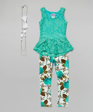 Another great find on #zulily! Mint  White Floral Belted Tunic Set - Toddler  Girls #zulilyfinds