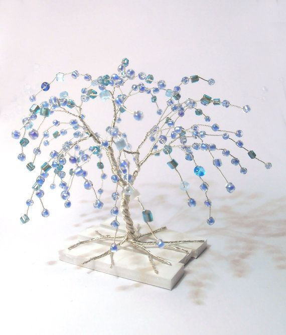 wire art tree - silver plated wire turquoise blue beads - minimalistic decor - lucky 2014 decor