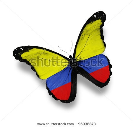 Colombian flag butterfly tattoo