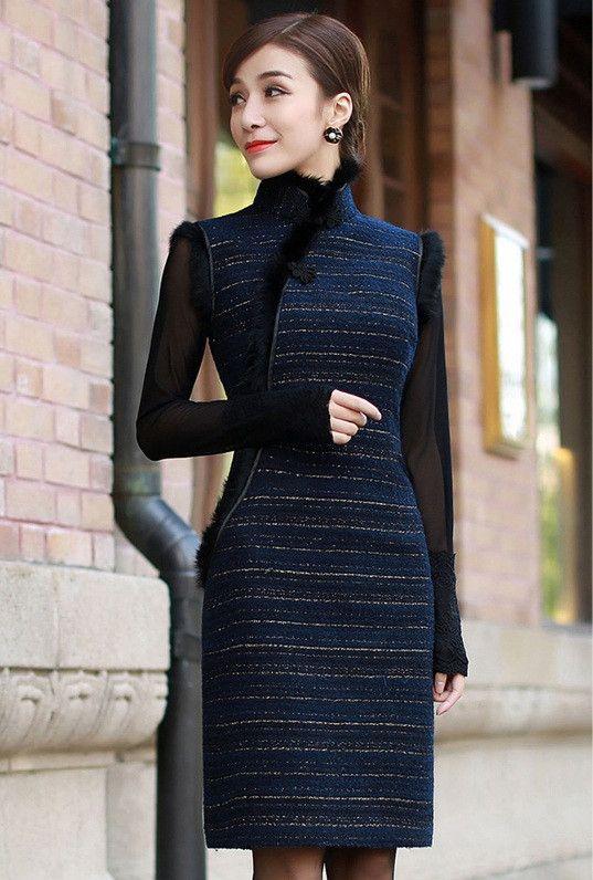 Retro Qipao Half-Long Sleeve Woolen Chinese Cheongsam Dress Blue