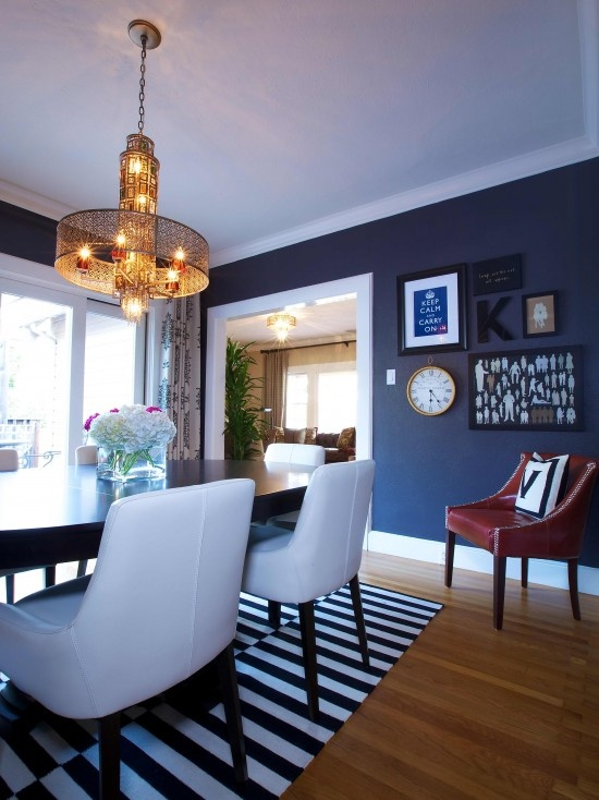 Navy dining room: Decor, Wall Colors, Ideas, Blue Wall, Eclectic Dining Rooms, Navy Wall, House, Rugs, Blue Dining Rooms