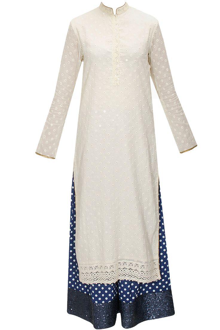 Cream embroidered kurta with blue printed pants by Vikram Phadnis. Shop now: www.perniaspopups.... #kurta #stylish #designer #vikramphadnis #chic #clothing #shopnow #perniaspopupshop #happyshopping