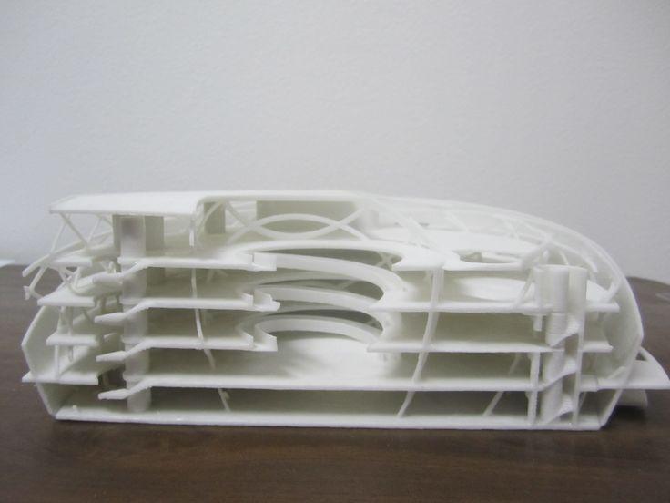 Impresión 3D: Maqueta de Corte de Hospital. Maqueta para tesis de grado de arquitectura.