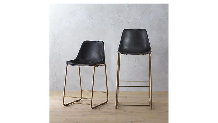 "Roadhouse black leather counter stool, CB2, $269, Dimensions: 18""Wx21""Dx34.5""H, Currently on back order until end of April"